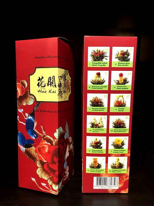 Blooming tea - set of 12 pieces (I-XII) in red gift box
