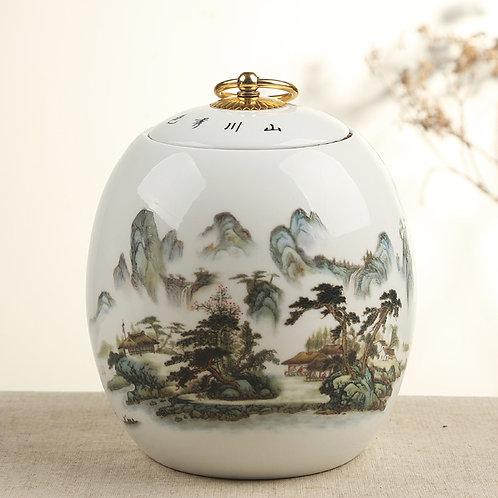 Mountain Porcelain Tea Container