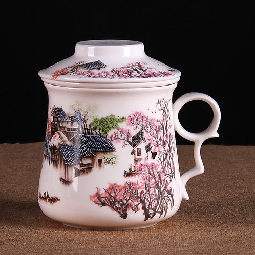 Cherry Blossom Village Porcelain Cup