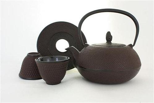 Service à thé en fonte brun