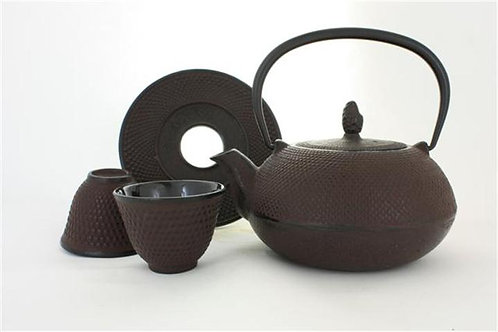 Rust Brown Cast Iron Tea Set