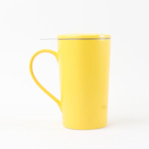 Tasse en porcelaine avec infuseur et couvercle, jaune