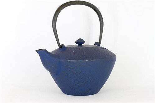 Blue Cast Iron Teapot