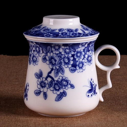 Blue & White Blossom Porcelain Cup