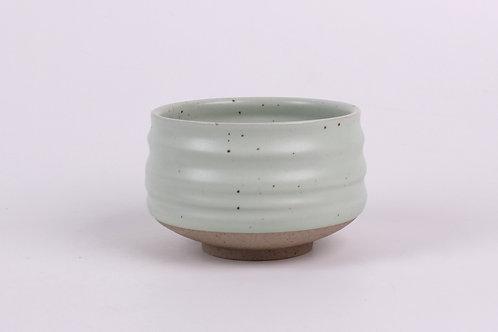 Bol à matcha en porcelaine, feuille verte