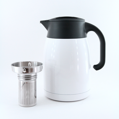 Pengu - Stainless Steel Vacuum Tea & Coffee Pot with S/S - Pearl White (1.0 L)