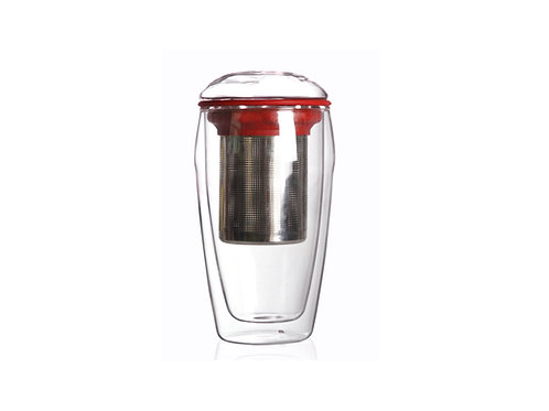 Double Wall Glass Cup with Infuser, Red