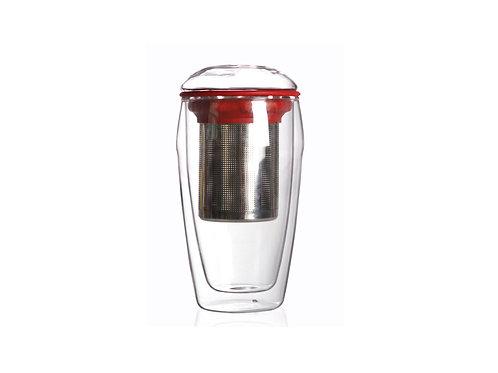 Tasse à double paroi en verre, rouge