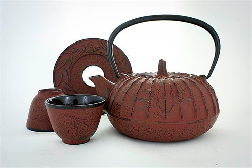 Service à thé en fonte cerise