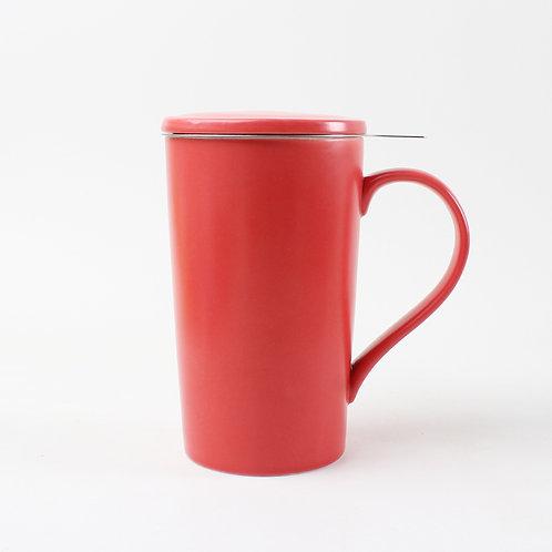 Tasse en porcelaine avec infuseur et couvercle, rouge