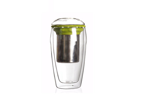Double Wall Glass Cup with Infuser, Green