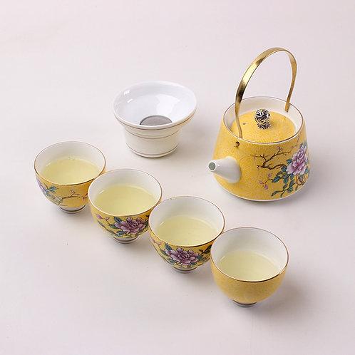Service à thé pivoine jaune