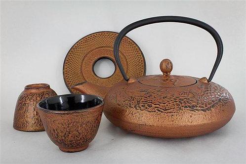 Service à thé en fonte cuivre