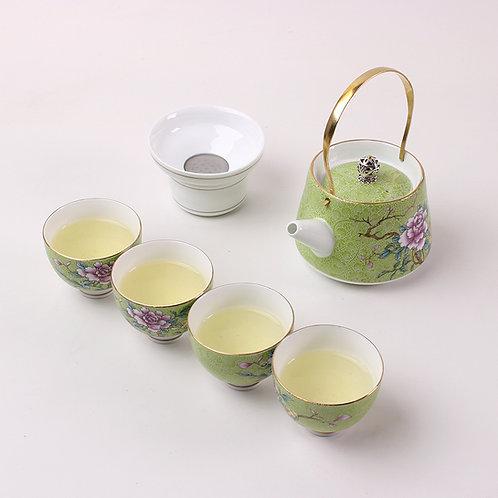 Service à thé pivoine vert