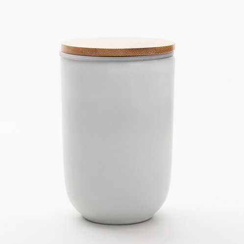 White Double Wall Porcelain Cup with Infuser & Bamboo Lid