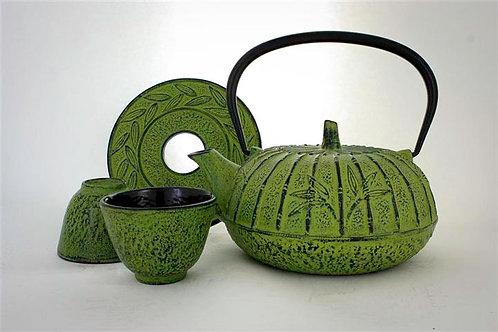 Moss Green Cast Iron Tea Set