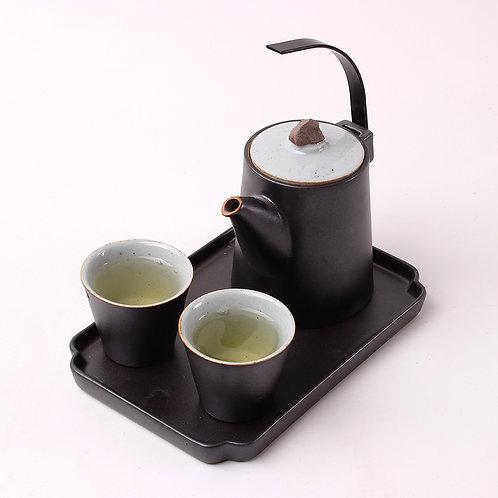 Service à thé en porcelaine noir
