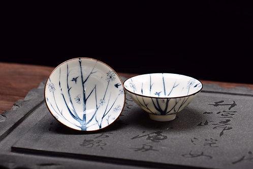 Winter Swallow Porcelain Teacup