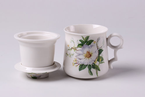 White Camellia Flower Porcelain Cup