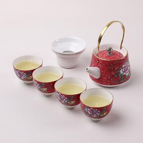 Service à thé pivoine rouge