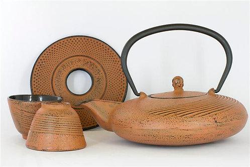 Sunburn Orange Cast Iron Tea Set