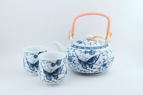 7 piece tea set with bamboo handle - butterfly design