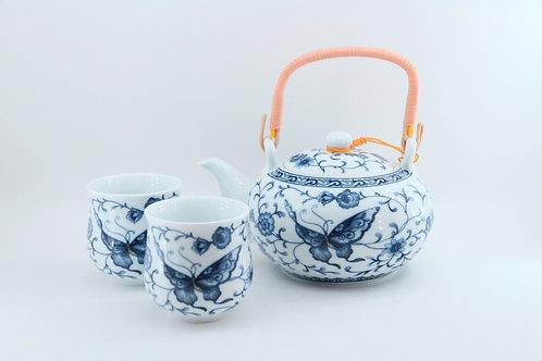 Ensemble en porcelaine à 7 morceaux avec poignée en bambou - papillon