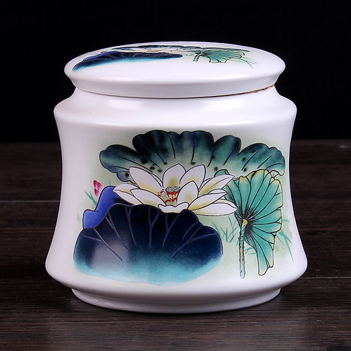 Lotus Porcelain Tea Container