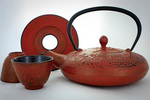 Red Cast Iron Tea Set