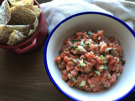 Salmon Tartare with Root Veggie Chips