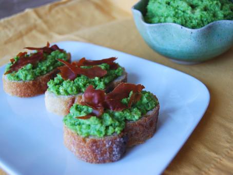 Spring Pea Crostini with Crispy Prosciutto