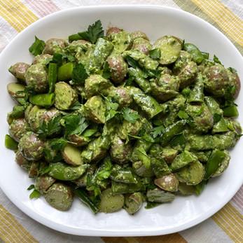 Spring Potato Salad with Snap Peas and Basil Pesto Dressing