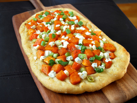 Roasted Butternut Squash Flatbread with Blue Cheese and Scallions