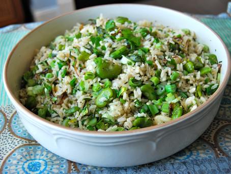 Herby Baked Brown Rice with Fresh Beans