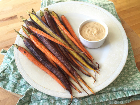 Roasted Fall Carrots with Garlicky Sesame White Bean Puree