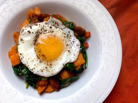 Chorizo Sweet Potato Hash with Spinach