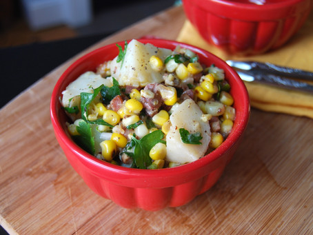 Potato Salad with Charred Summer Corn and Crispy Pancetta