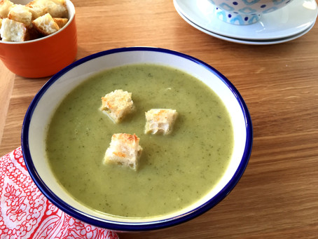 Smoky Zucchini Soup with Charred Poblanos + Focaccia Croutons