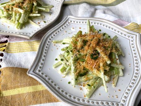 Celery Caesar Salad with Toasted Breadcrumbs