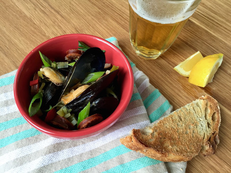 Pilsner Steamed Mussels with Chorizo