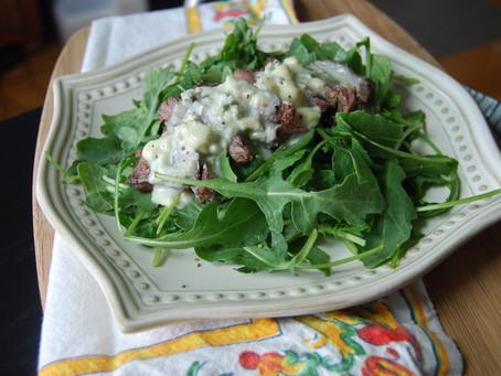 Grilled Skirt Steak Arugula Salad with Gorgonzola Fonduta Sauce