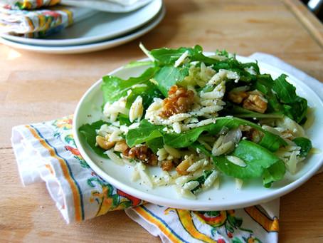 Orzo Pasta Salad with Fresh Ricotta, Arugula, and Citrus Vinaigrette