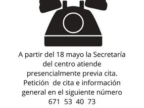 Atención presencial de la Secretaría con cita previa