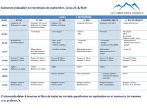Calendario exámenes evaluación extraordiaria septiembre