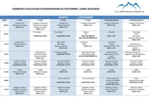 Corrección Calendario Exámenes de Septiembre