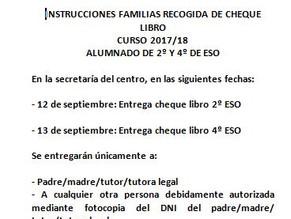 Instrucciones entrega cheque libros 2ºESO y 4ºESO