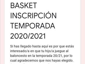 Basket inscripción temporada 2020-2021