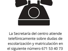 Atención telefónica de la Secretaría del centro