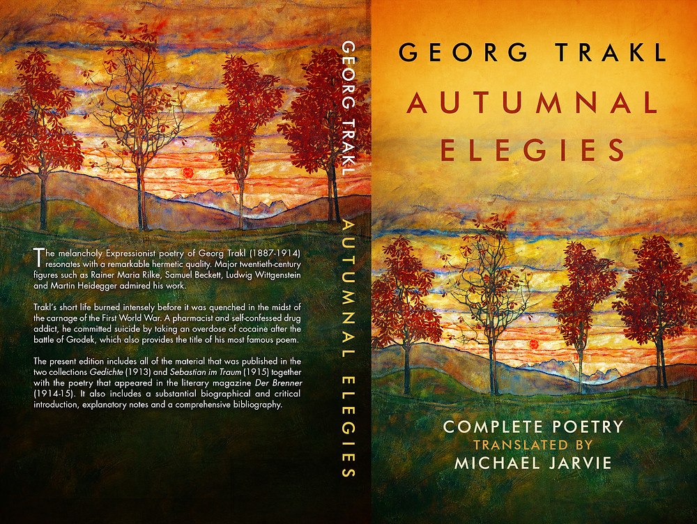 The cover of Autumnal Elegies featuring the painting entitled Four Trees by Egon Schiele.