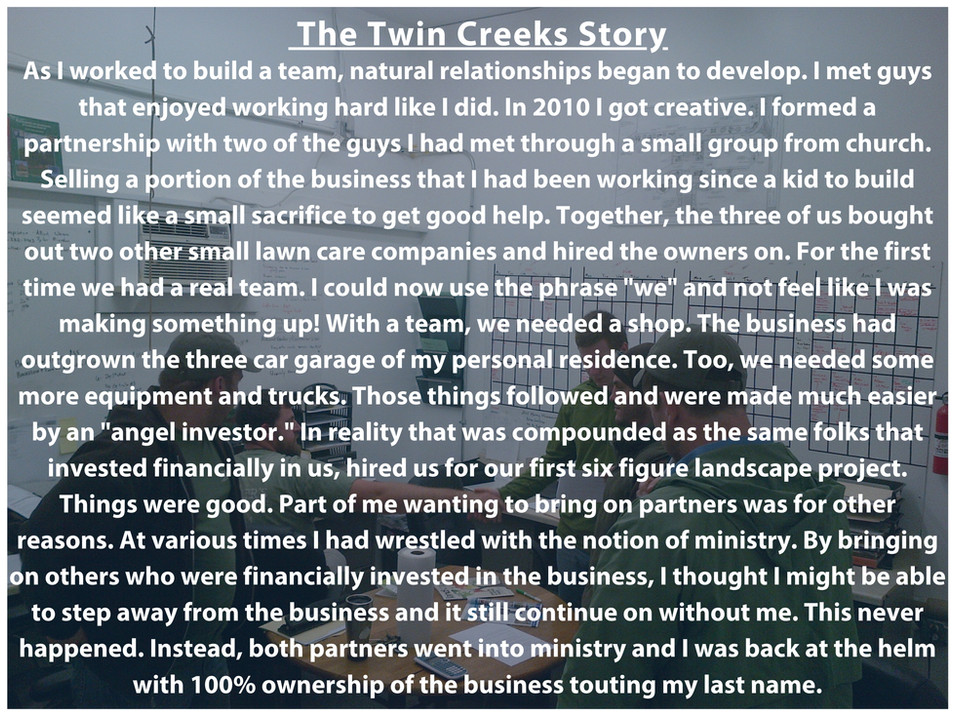 Twin Creeks Story Part 3